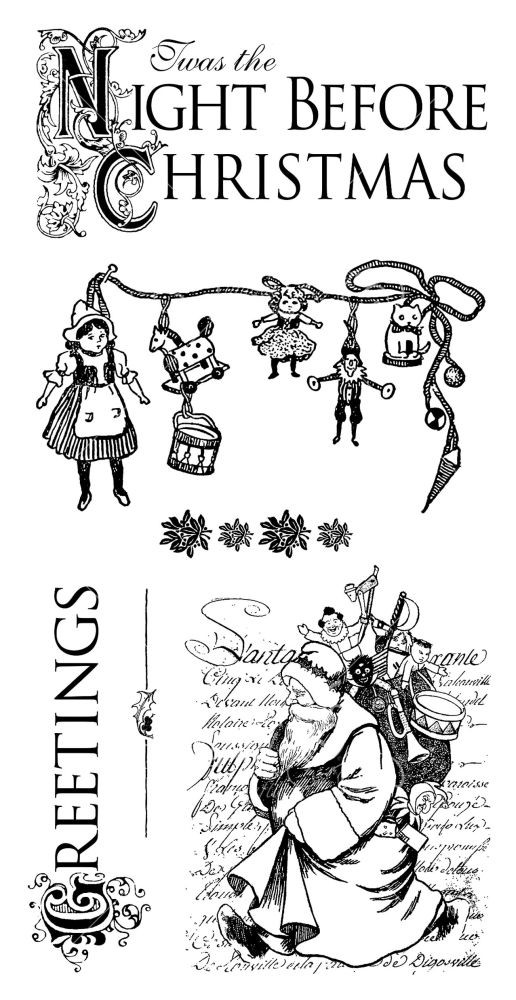 Graphic 45 G45 Cling Stamp Night Before Christmas 1