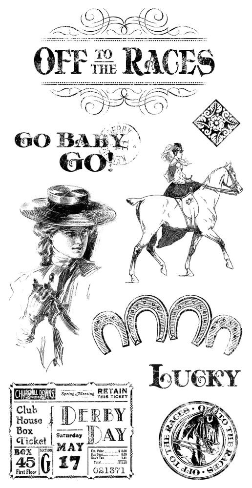 Graphic 45 Cling Stamp Set Off to the Races 1