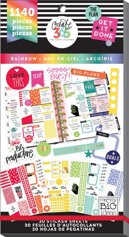 Me & My Big Ideas Create 365 The Happy Planner Sticker Value Pack - Rainbow (Classic)
