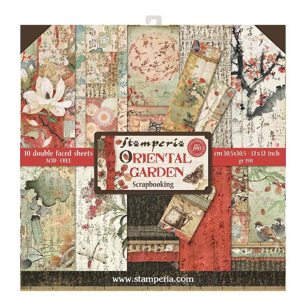 "Stamperia Block 10 sheets 30.5x30.5 (12""x12"") Double Face Oriental Garden"
