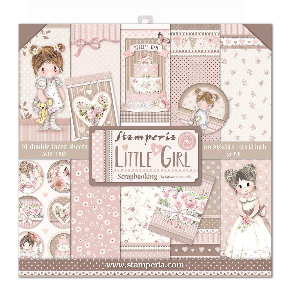 "Stamperia Block 10 Papers 30.5x30.5 (12""x12"") Double Face Little Girl"