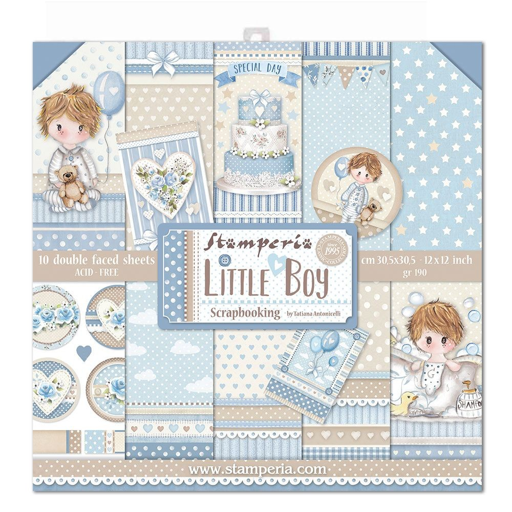 "Stamperia Block 10 Papers 30.5x30.5 (12""x12"") Double Face Little Boy"