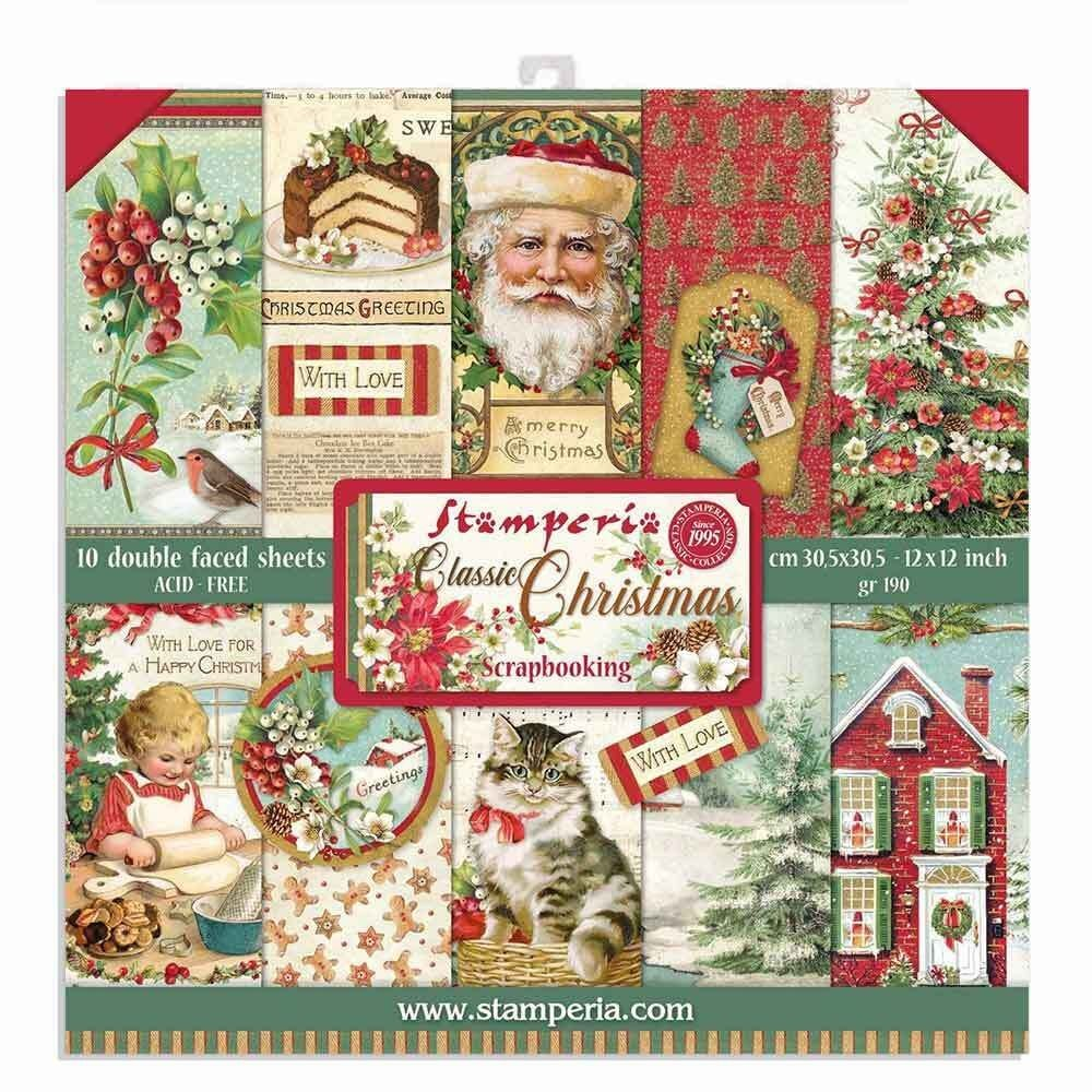 Stamperia 12x12 Paper Pad - Classic Christmas 2020 (10 Double Sided Sheets)