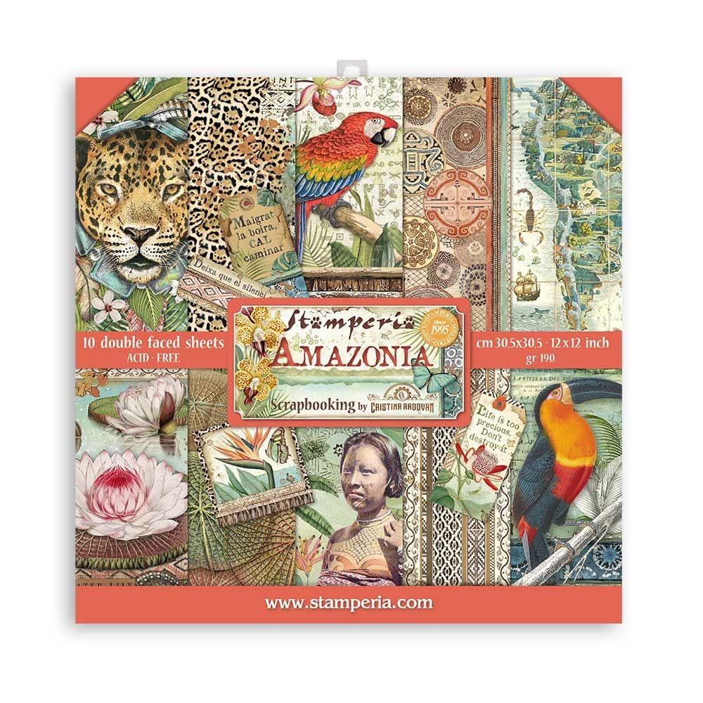 "Stamperia Scrapbooking Pad 10 sheets - 30.5x30.5 (12""x12"") - Amazonia"