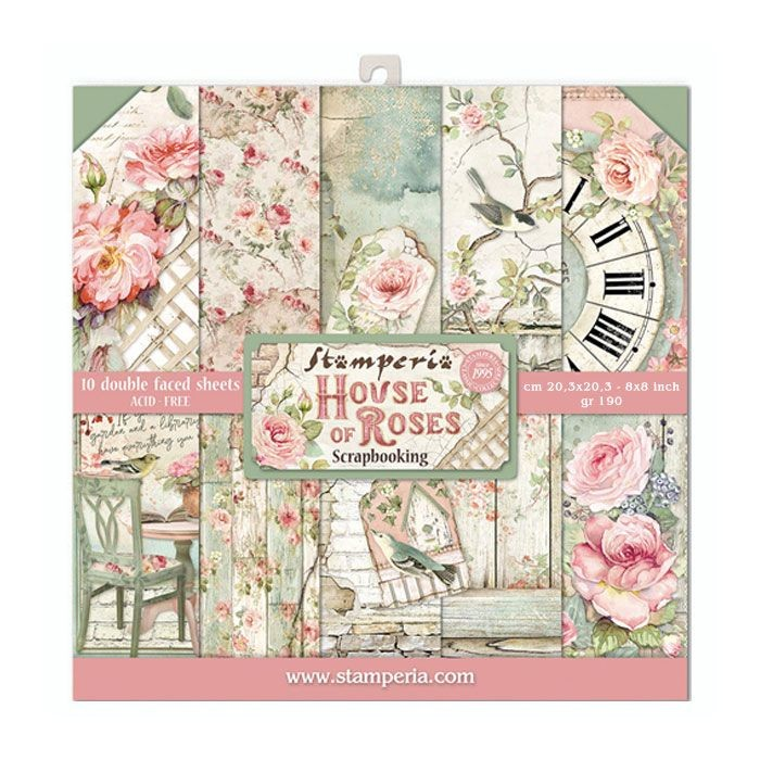 "Stamperia Block 10 Papers 20.3X20.3 (8""X8"") Double Face House of Roses"