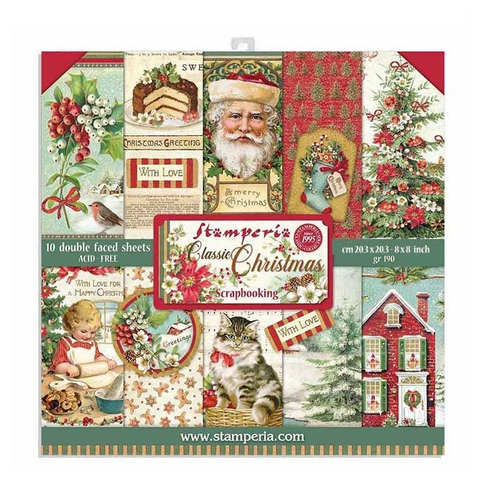 Stamperia 8x8 Paper Pad - Classic Christmas 2020 (10 Double Sided Sheets)