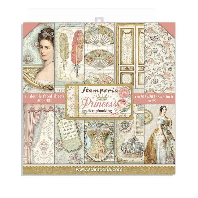 Stamperia 8x8 Paper Pad - Princess (10 Double Sided Sheets)