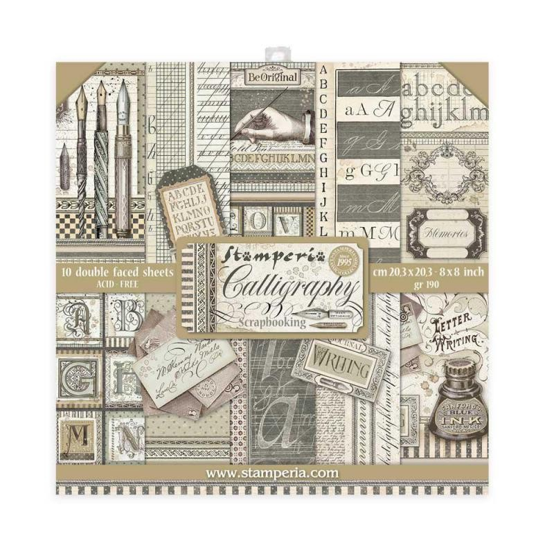 Stamperia Scrapbooking Mini Pad 10 sheets cm 20,3x20,3 Calligraphy