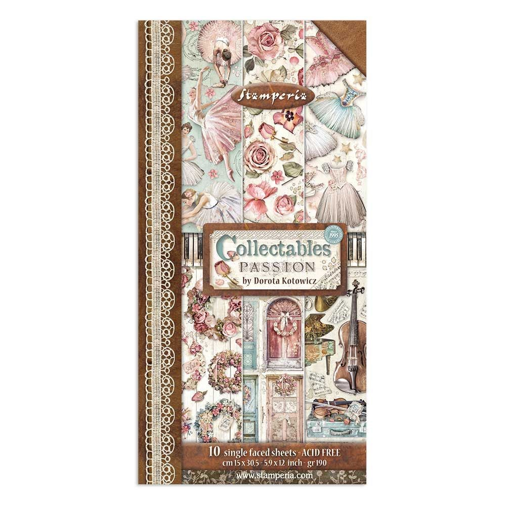 "Stamperia Collectables 10 sheets cm 15x30,5 (6""x12"") Passion"