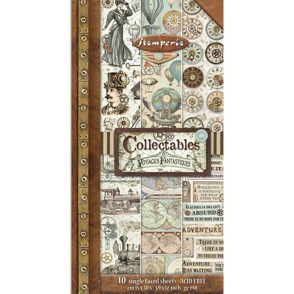 "Stamperia Collectables 10 sheets cm 15x30,5 (6""x12"") Voyages Fantastiques"