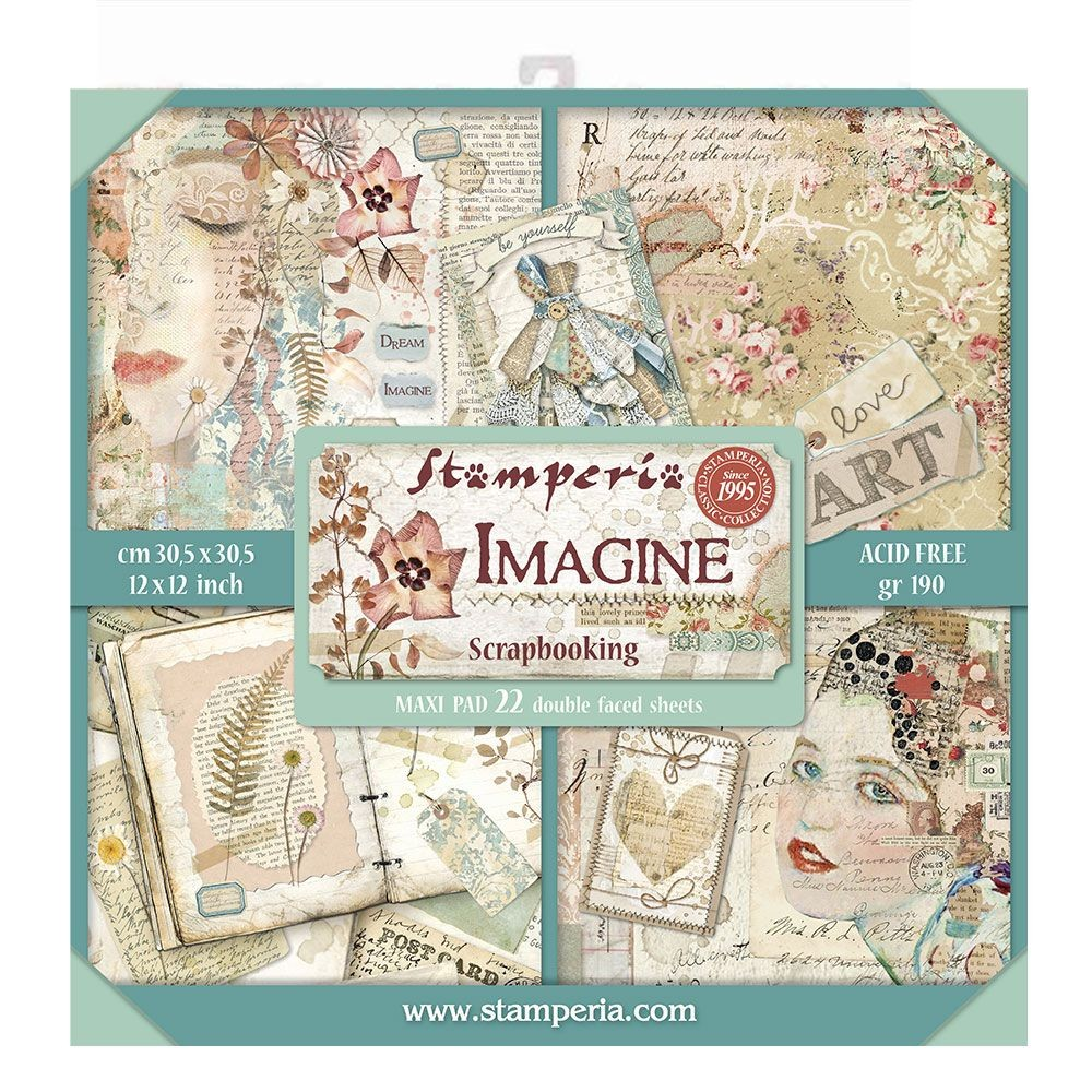 "Stamperia Block 22 Papers 30.5x30.5 (12""x12"") Double Face Imagine"