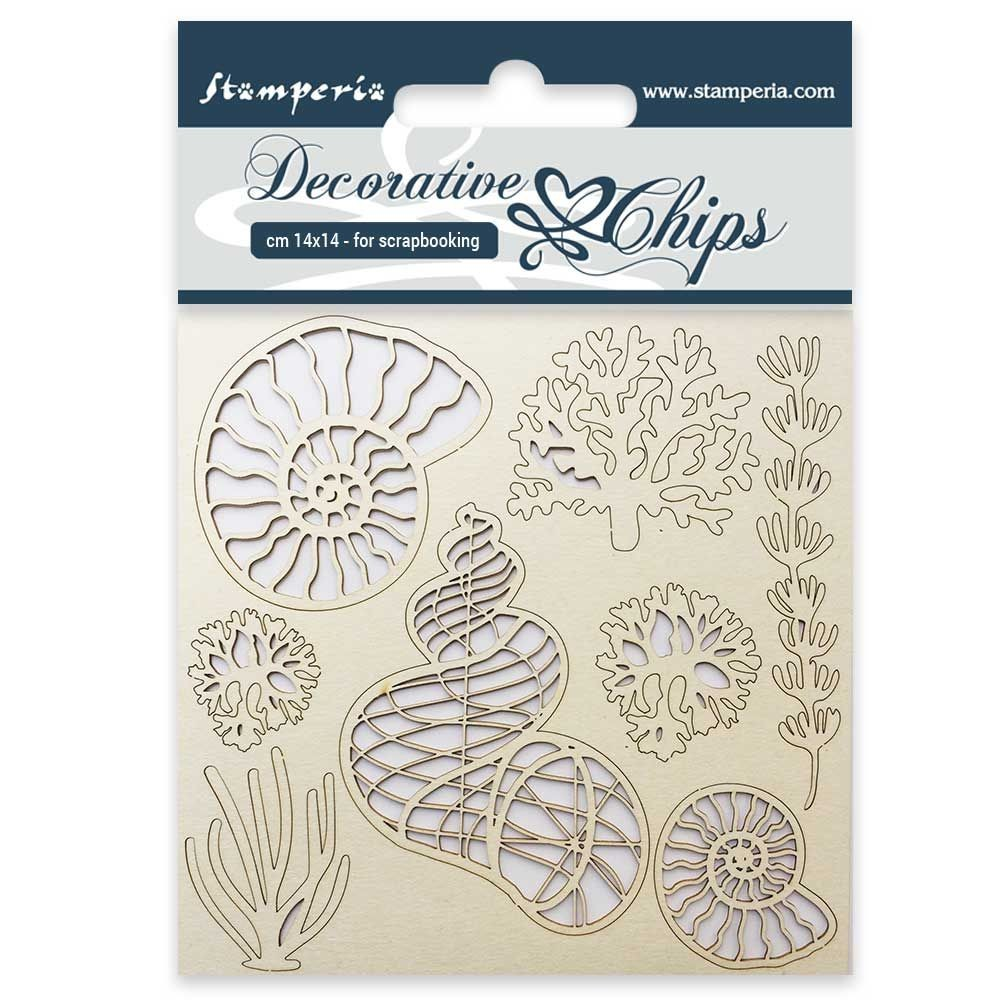 Stamperia Decorative chips cm. 14x14 Shells