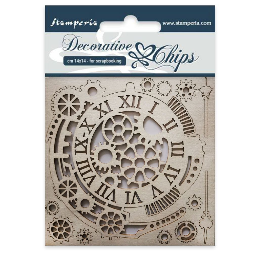 Stamperia Decorative chips cm 14x14 Gears and clocks