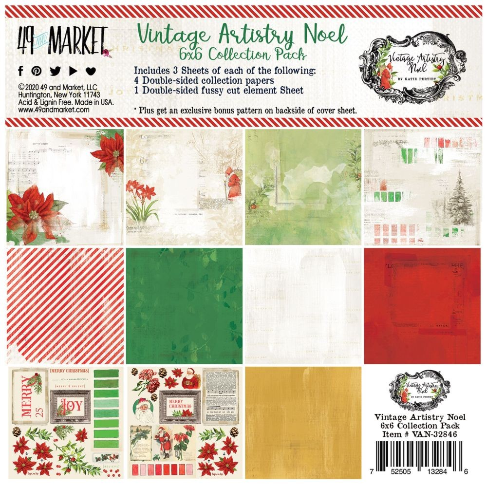 49 and Market Vintage Artistry Noel 6x6 Collection Pack