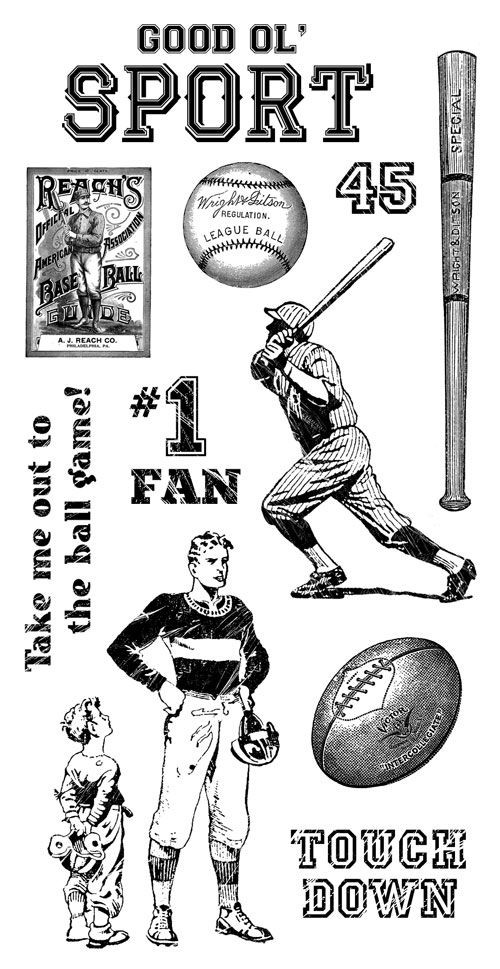 Graphic 45 Good Ol Sport Cling Stamp 1